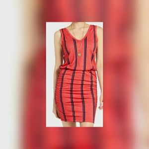 Sundry scrunch redstripe dress